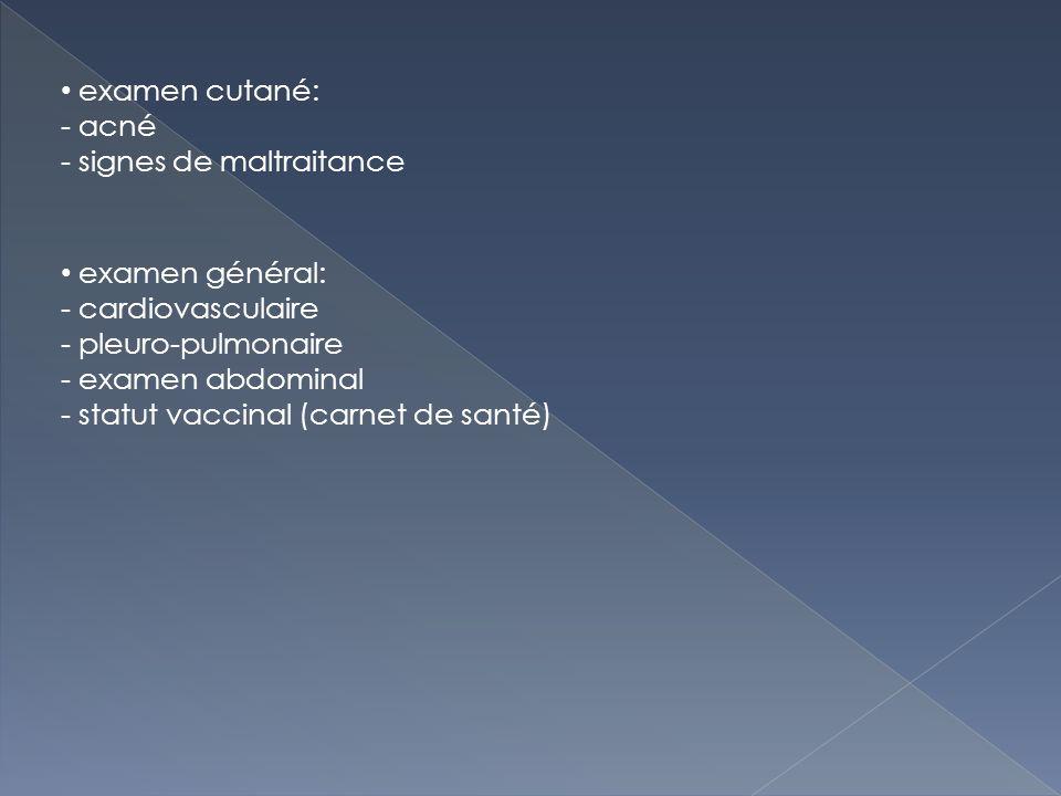 examen cutané: acné. signes de maltraitance. examen général: cardiovasculaire. pleuro-pulmonaire.