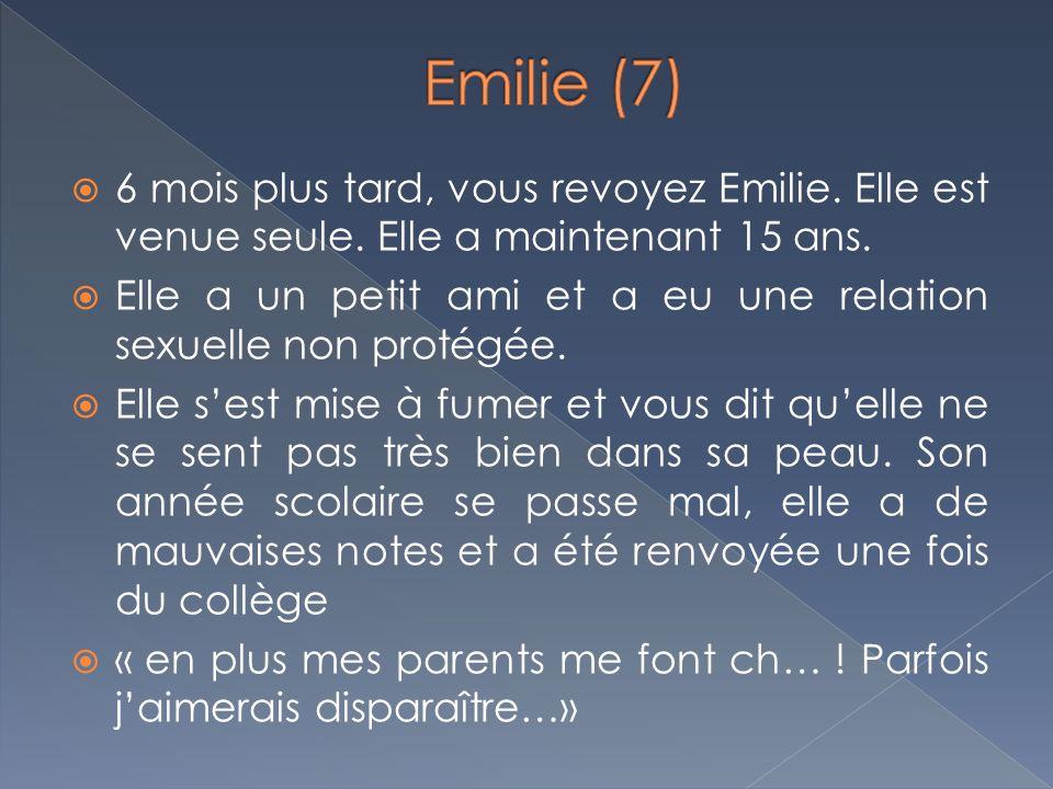 Emilie (7) 6 mois plus tard, vous revoyez Emilie. Elle est venue seule. Elle a maintenant 15 ans.