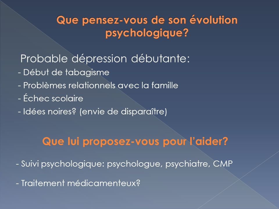 Que pensez-vous de son évolution psychologique