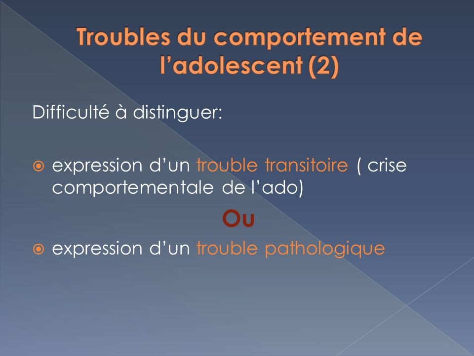 Troubles du comportement de l'adolescent (2)