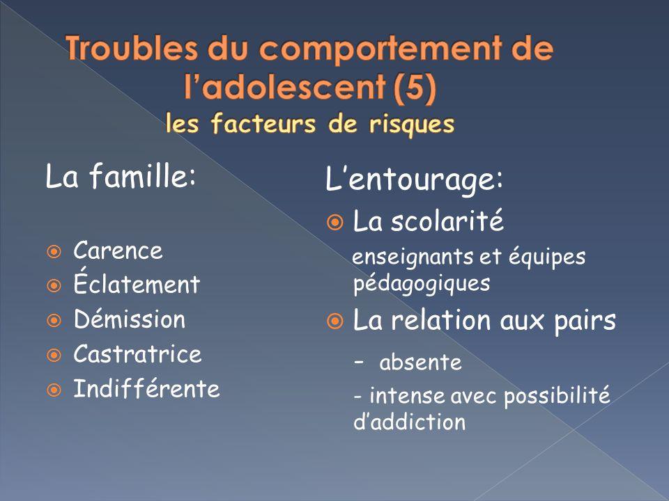 Troubles du comportement de l'adolescent (5) les facteurs de risques