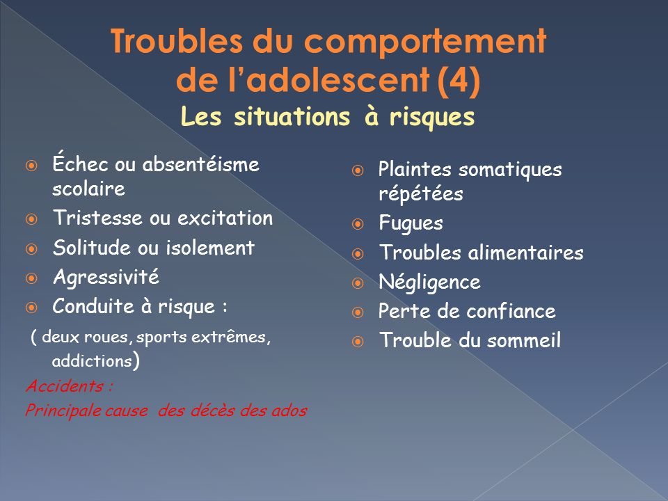 Troubles du comportement de l'adolescent (4) Les situations à risques