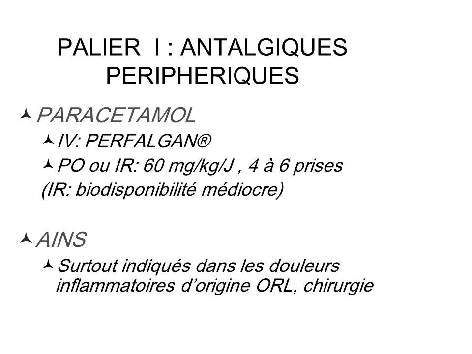 PALIER I : ANTALGIQUES PERIPHERIQUES