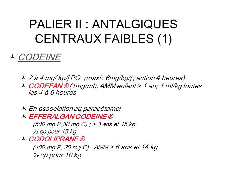 PALIER II : ANTALGIQUES CENTRAUX FAIBLES (1)