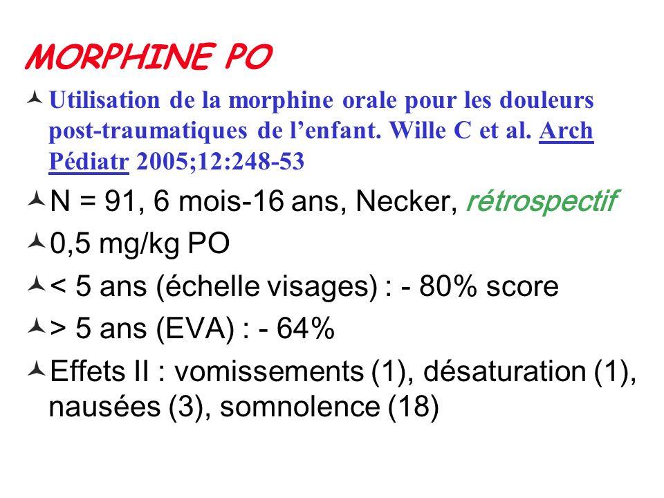 MORPHINE PO N = 91, 6 mois-16 ans, Necker, rétrospectif 0,5 mg/kg PO