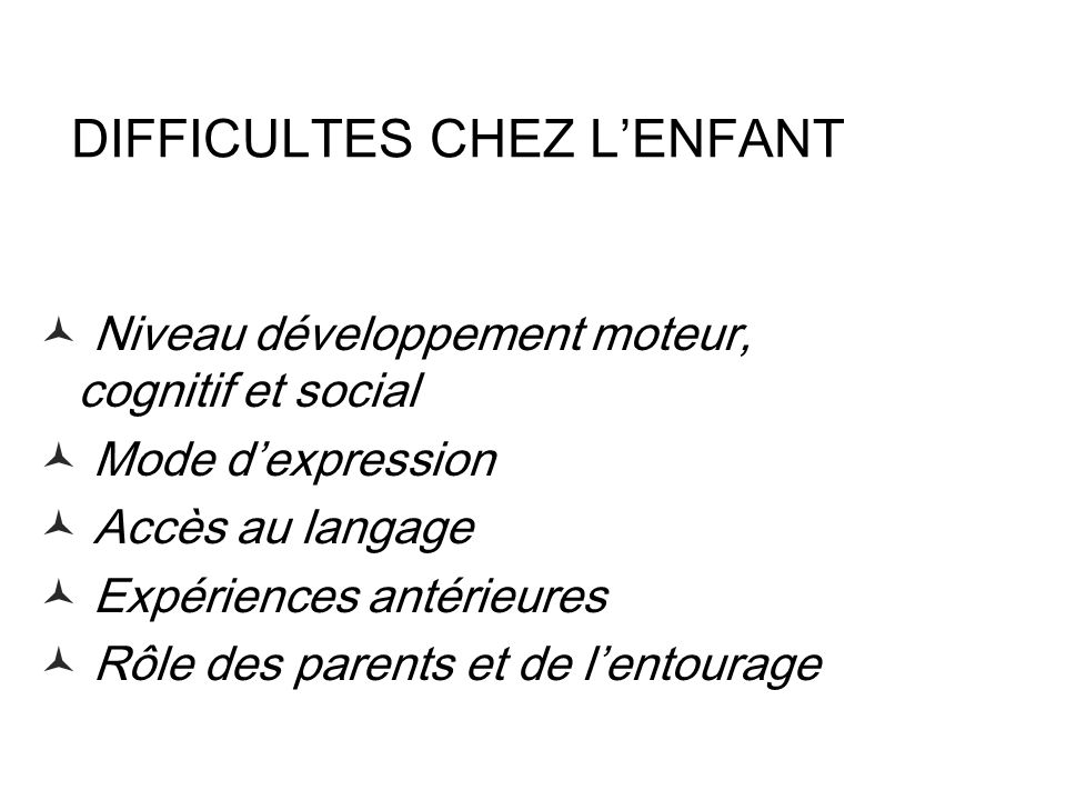 DIFFICULTES CHEZ L'ENFANT