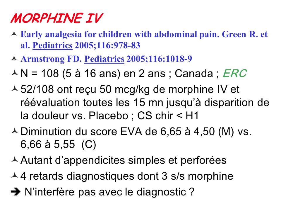 MORPHINE IV N = 108 (5 à 16 ans) en 2 ans ; Canada ; ERC