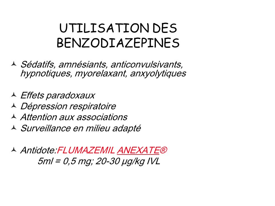 UTILISATION DES BENZODIAZEPINES
