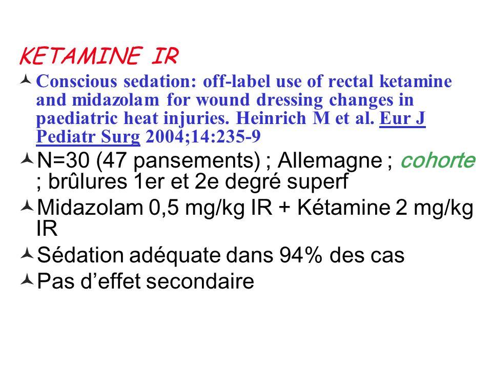 Midazolam 0,5 mg/kg IR + Kétamine 2 mg/kg IR