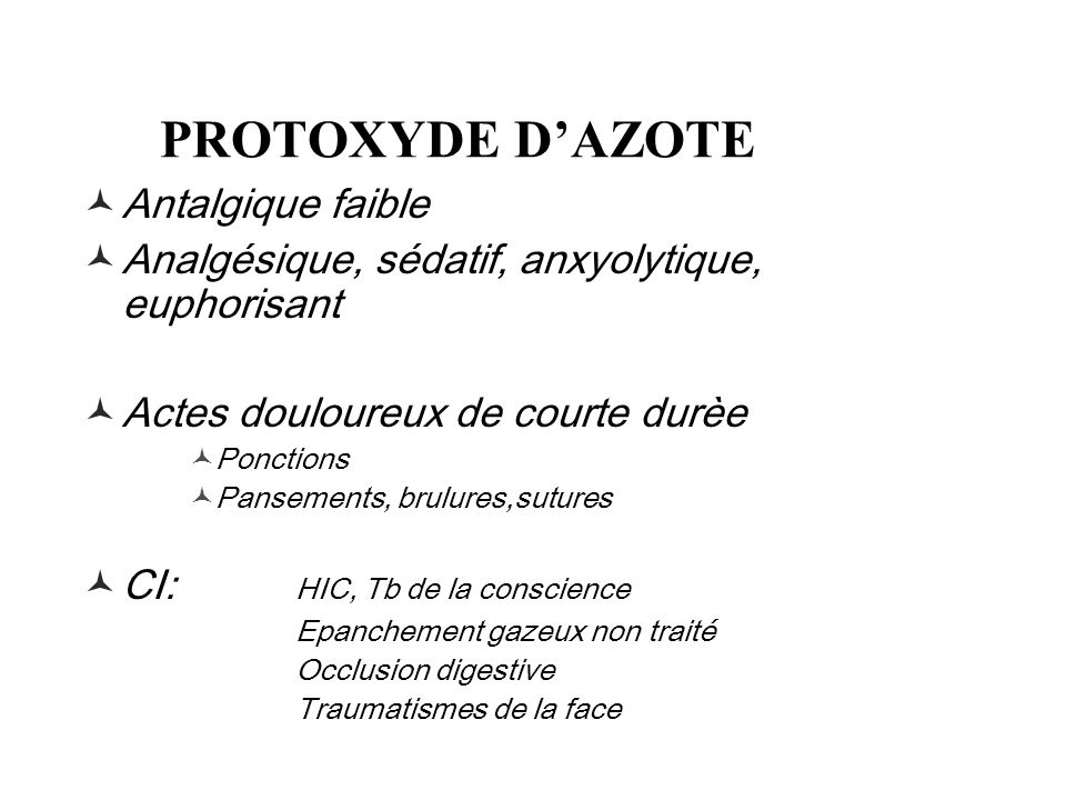 PROTOXYDE D'AZOTE Antalgique faible