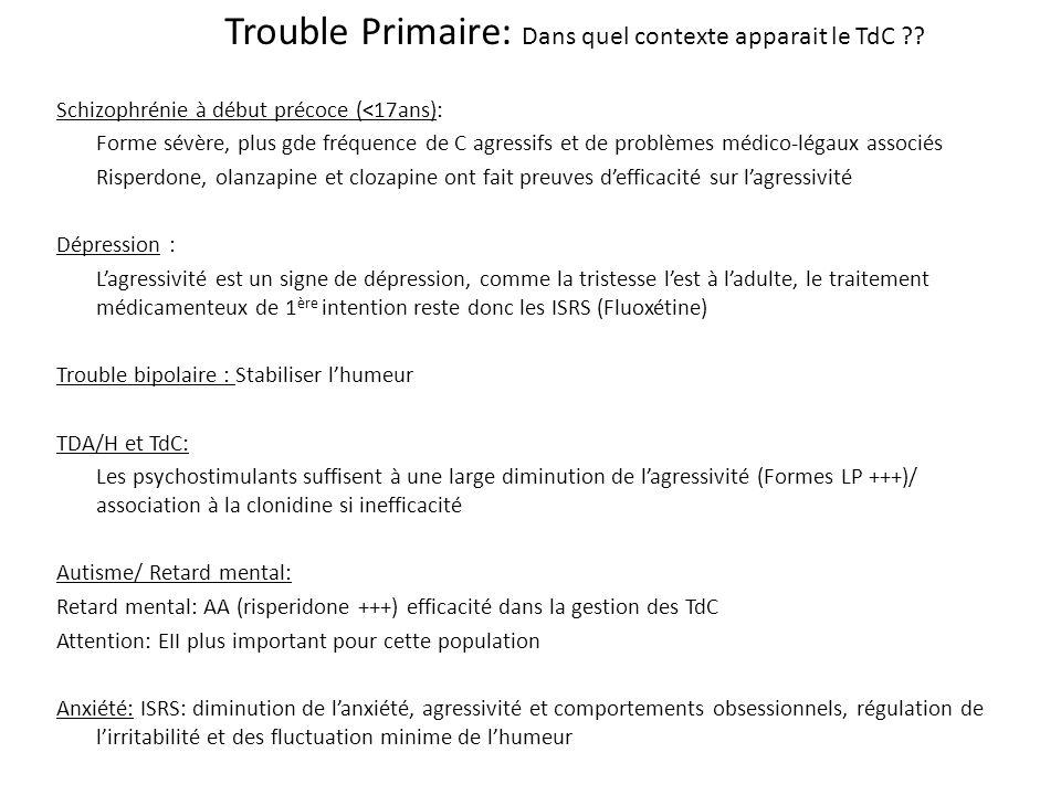 Trouble Primaire: Dans quel contexte apparait le TdC