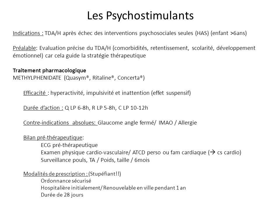 Les Psychostimulants Indications : TDA/H après échec des interventions psychosociales seules (HAS) (enfant >6ans)