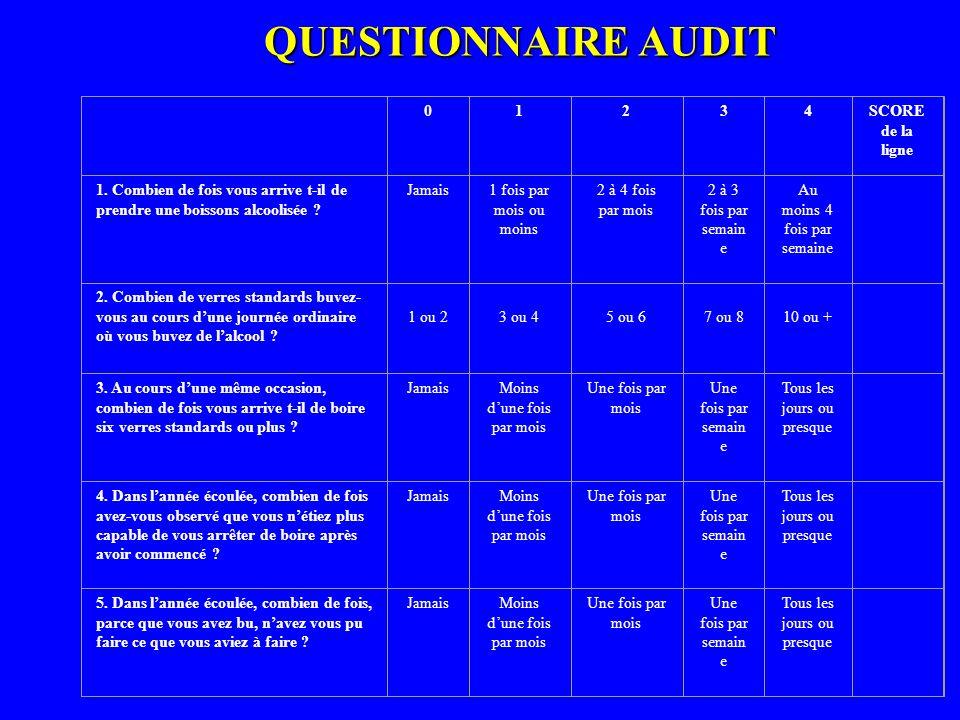 QUESTIONNAIRE AUDIT 1 2 3 4 SCORE de la ligne