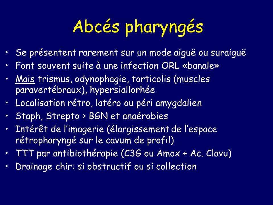 Abcés pharyngés Se présentent rarement sur un mode aiguë ou suraiguë