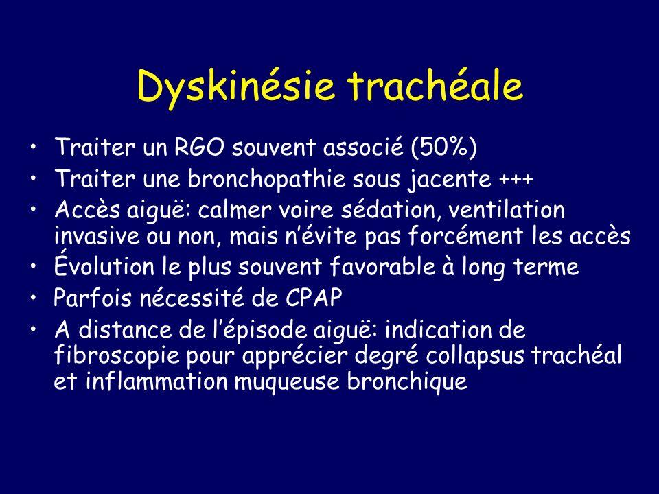 Dyskinésie trachéale Traiter un RGO souvent associé (50%)