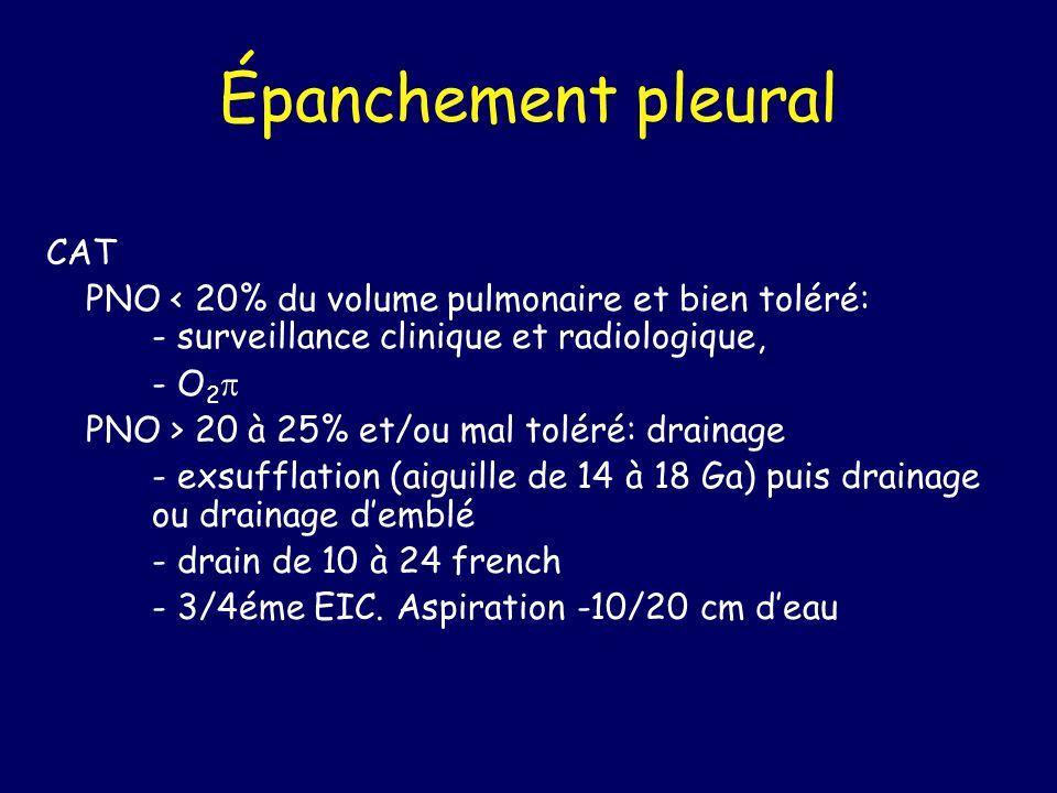 Épanchement pleural CAT