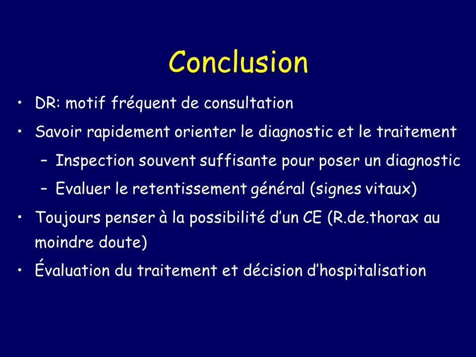 Conclusion DR: motif fréquent de consultation