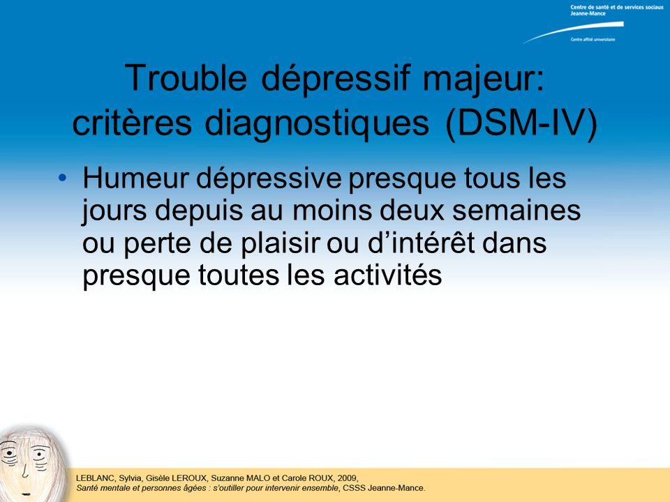 Trouble dépressif majeur: critères diagnostiques (DSM-IV)