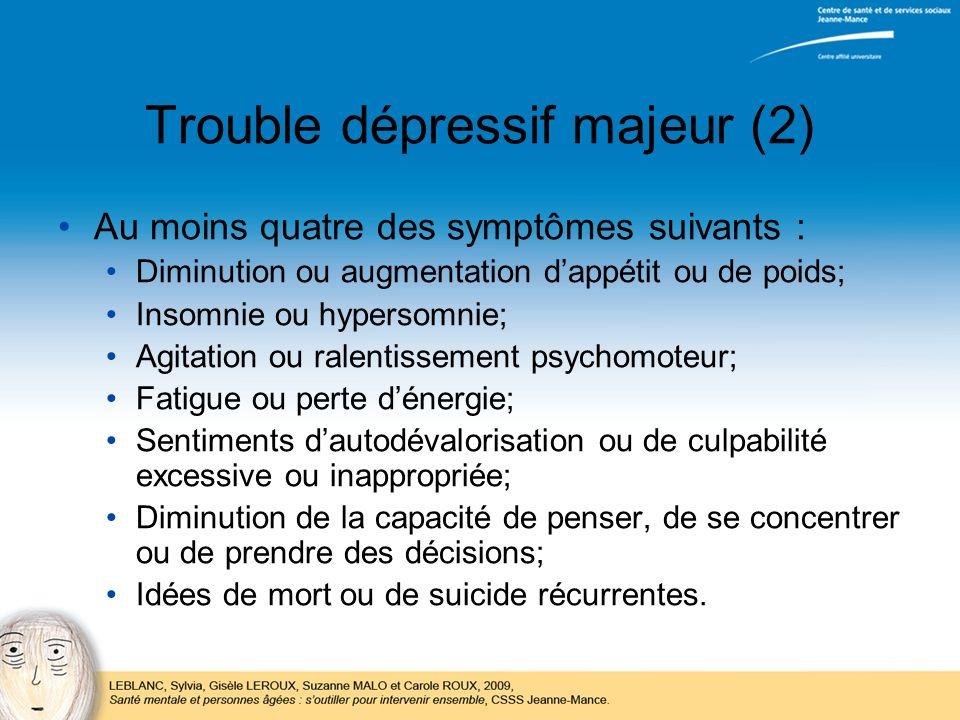 Trouble dépressif majeur (2)