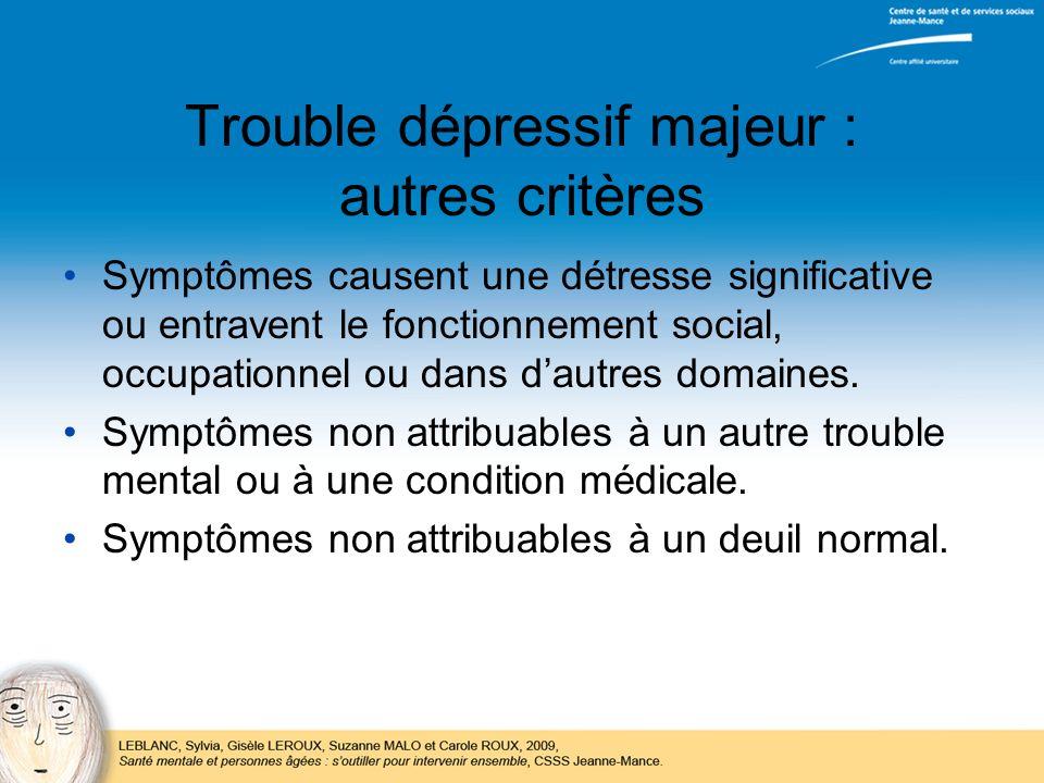 Trouble dépressif majeur : autres critères