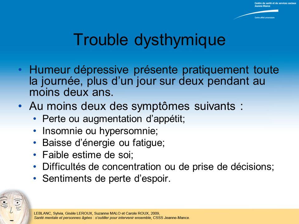 Trouble dysthymique Humeur dépressive présente pratiquement toute la journée, plus d'un jour sur deux pendant au moins deux ans.