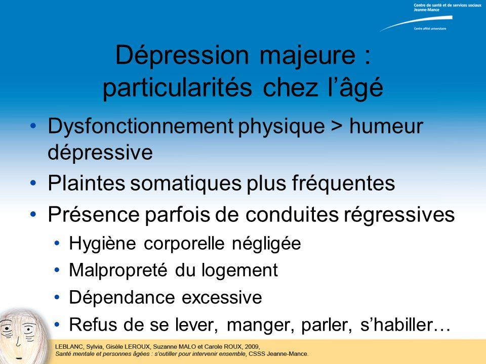 Dépression majeure : particularités chez l'âgé