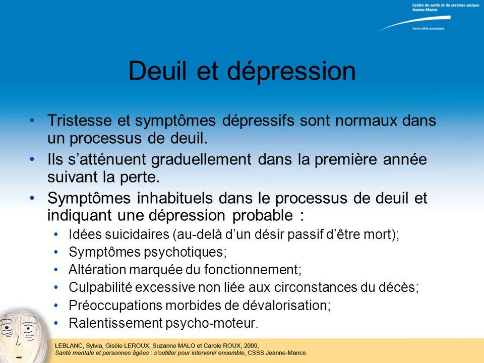 Deuil et dépression Tristesse et symptômes dépressifs sont normaux dans un processus de deuil.