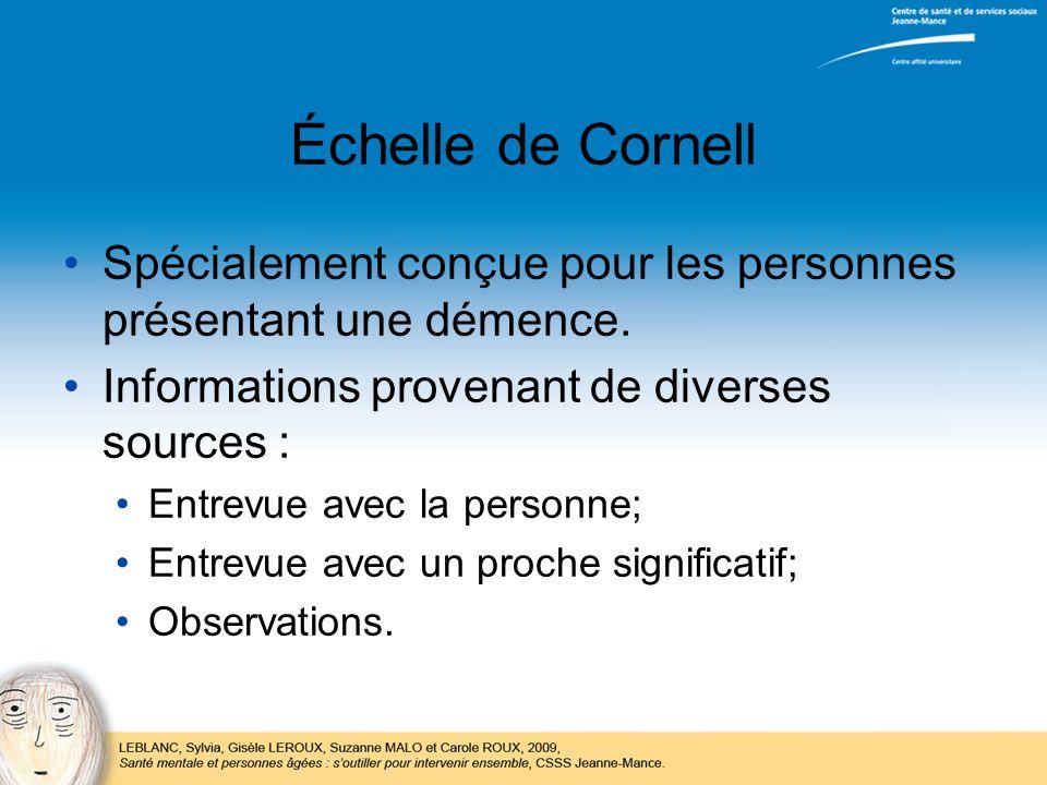 Échelle de Cornell Spécialement conçue pour les personnes présentant une démence. Informations provenant de diverses sources :