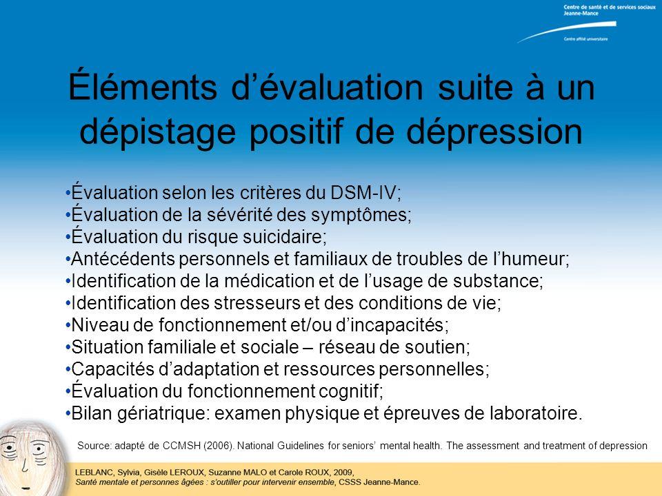 Éléments d'évaluation suite à un dépistage positif de dépression