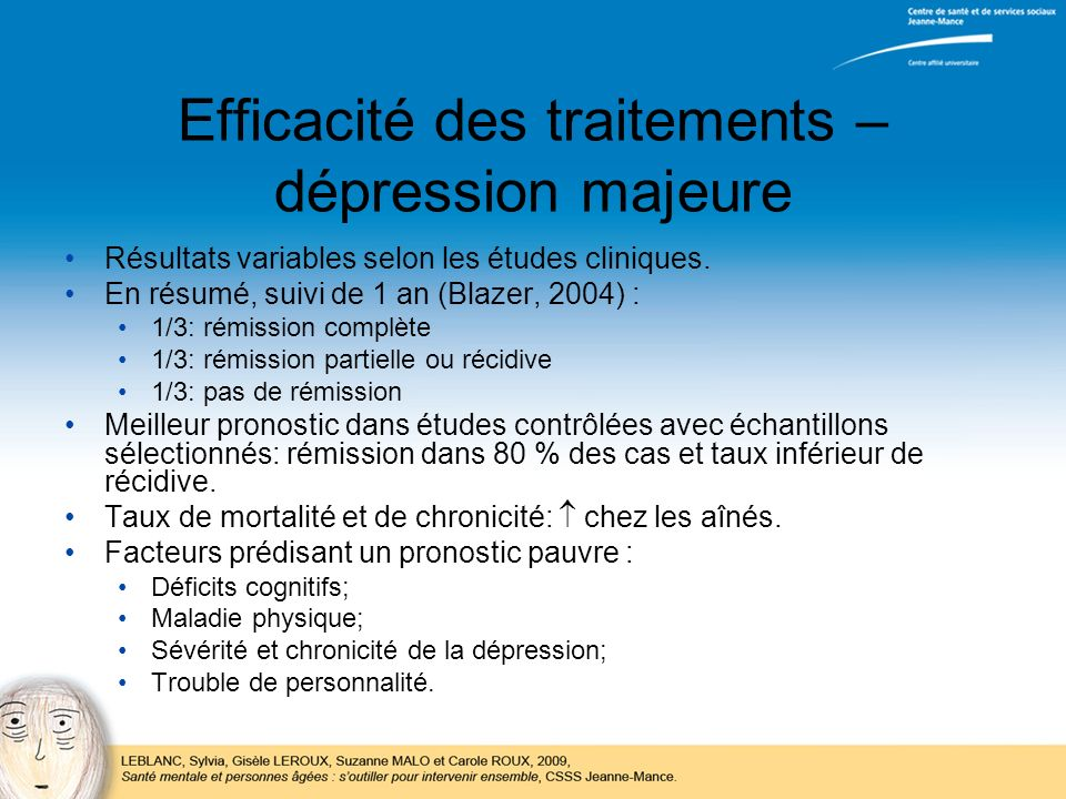 Efficacité des traitements – dépression majeure