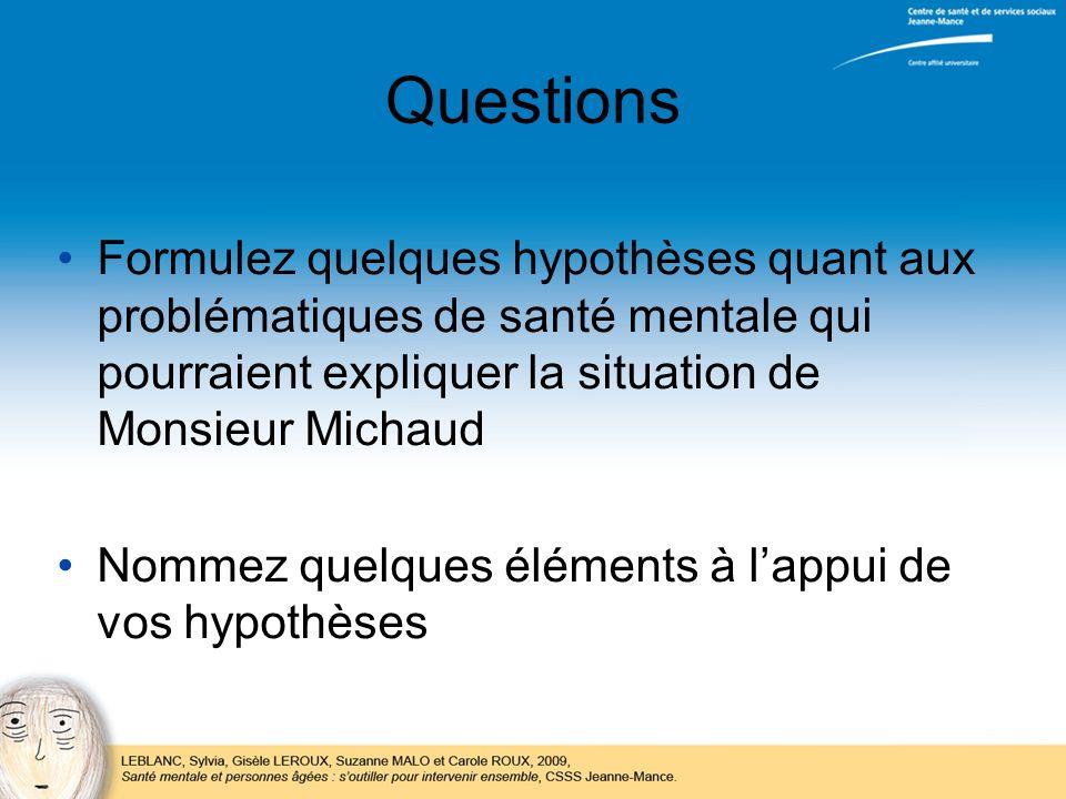 Questions Formulez quelques hypothèses quant aux problématiques de santé mentale qui pourraient expliquer la situation de Monsieur Michaud.