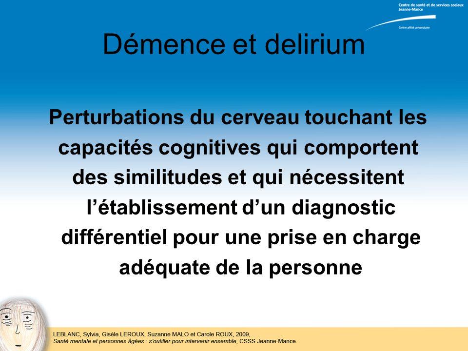 Démence et delirium Perturbations du cerveau touchant les
