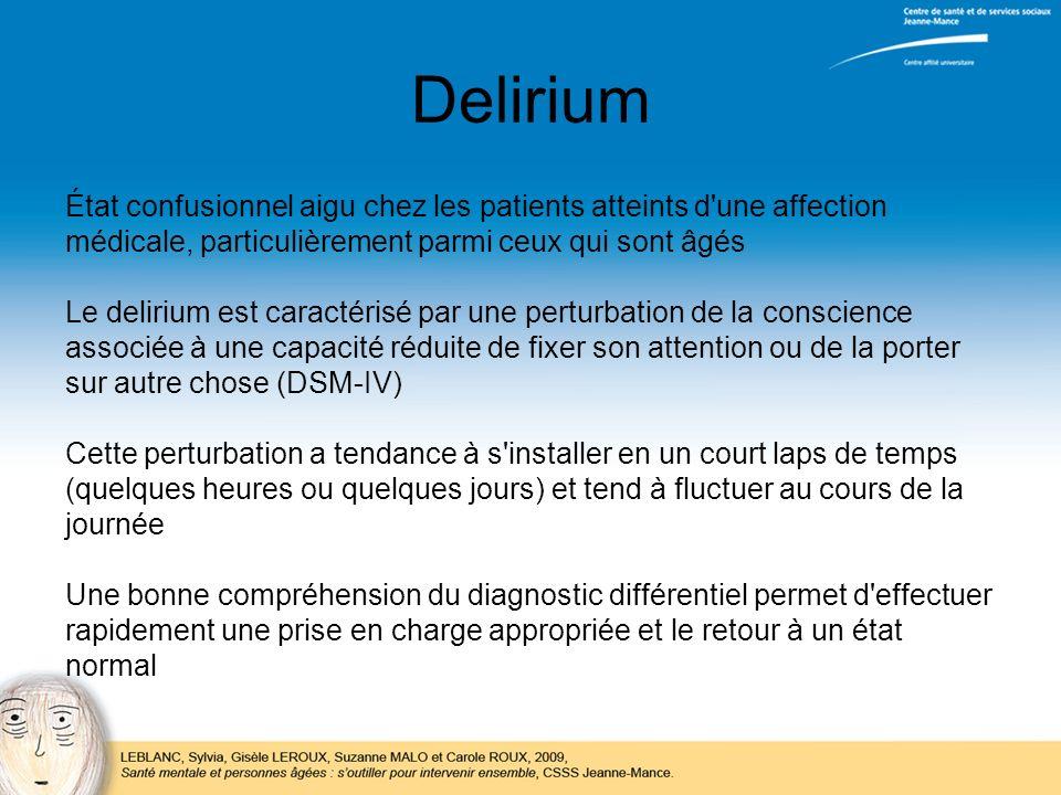 Delirium État confusionnel aigu chez les patients atteints d une affection. médicale, particulièrement parmi ceux qui sont âgés.
