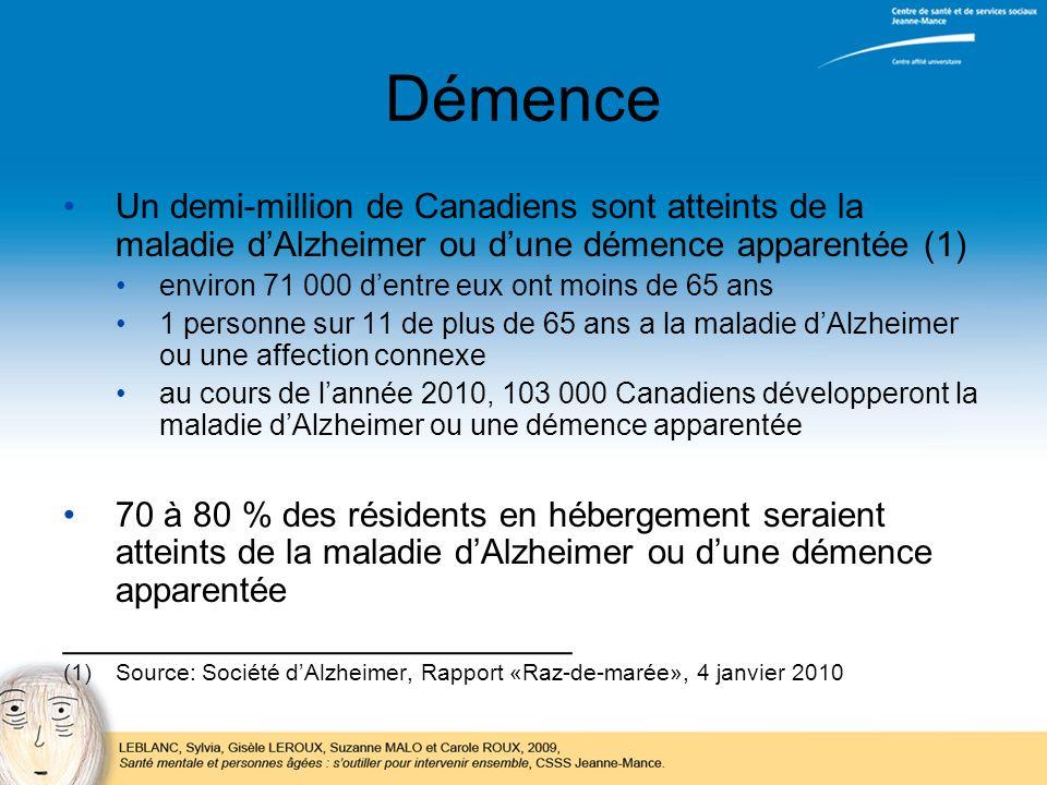 Démence Un demi-million de Canadiens sont atteints de la maladie d'Alzheimer ou d'une démence apparentée (1)