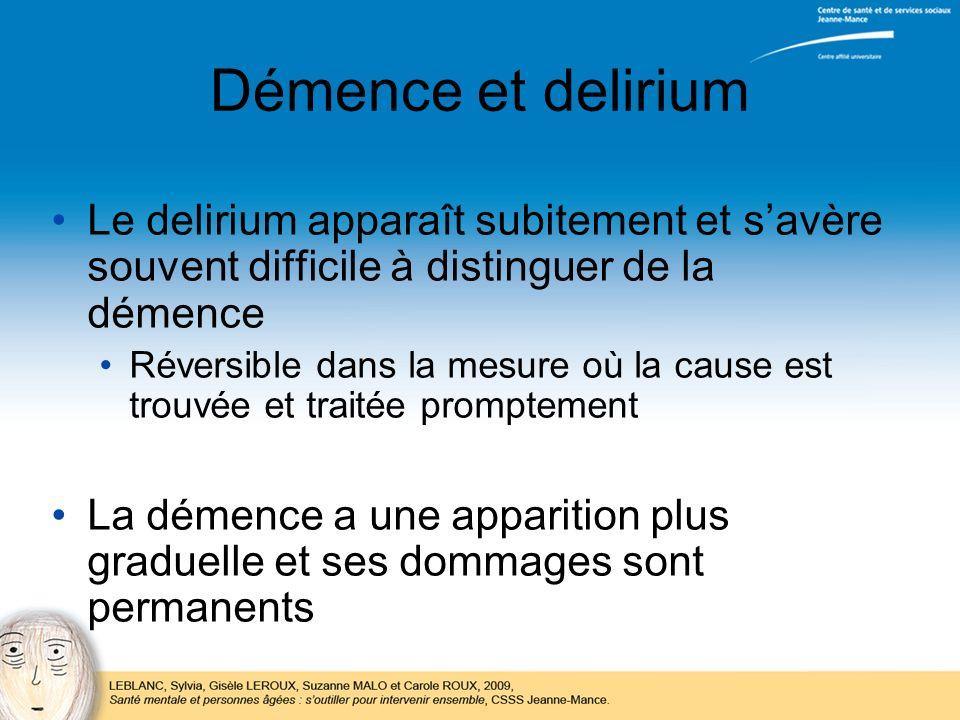 Démence et delirium Le delirium apparaît subitement et s'avère souvent difficile à distinguer de la démence.