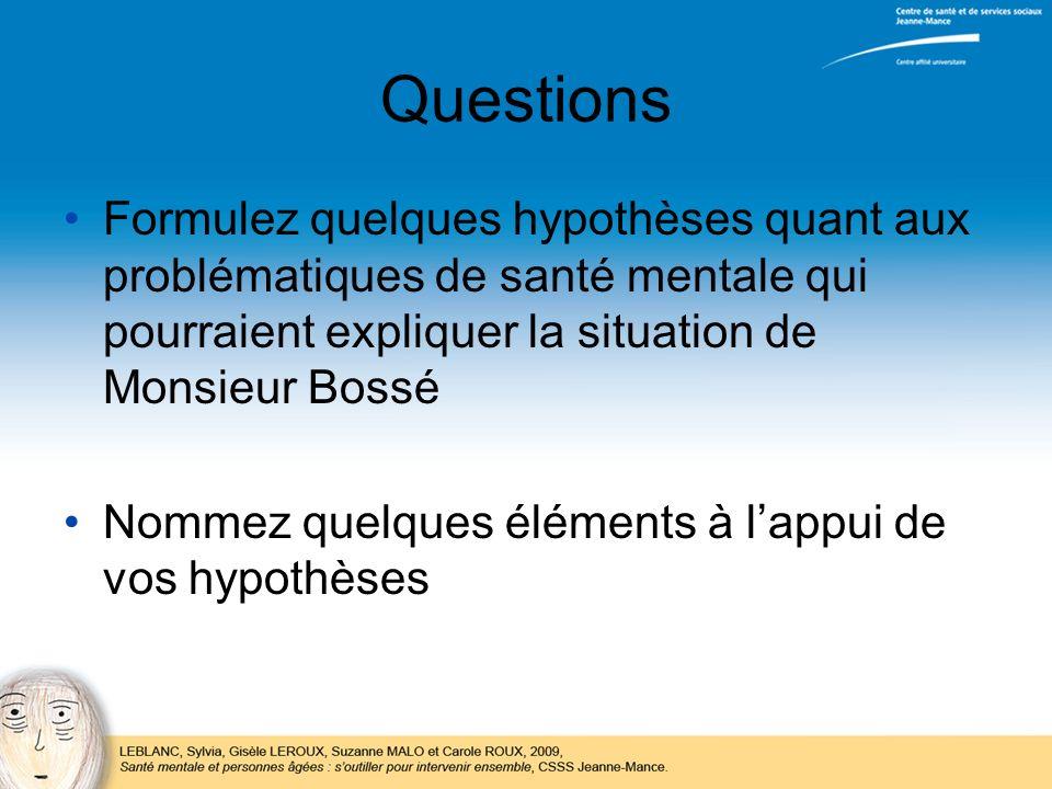 Questions Formulez quelques hypothèses quant aux problématiques de santé mentale qui pourraient expliquer la situation de Monsieur Bossé.