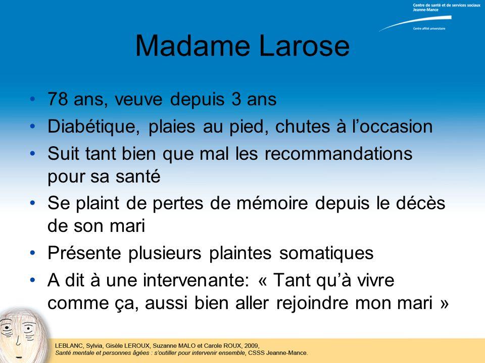 Madame Larose 78 ans, veuve depuis 3 ans