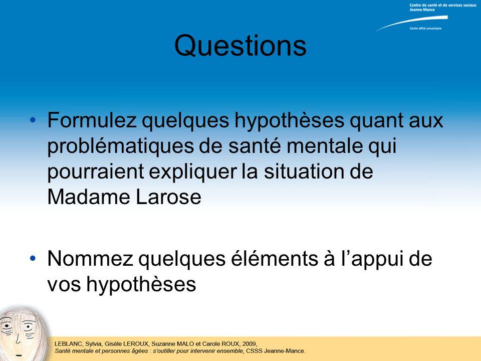Questions Formulez quelques hypothèses quant aux problématiques de santé mentale qui pourraient expliquer la situation de Madame Larose.