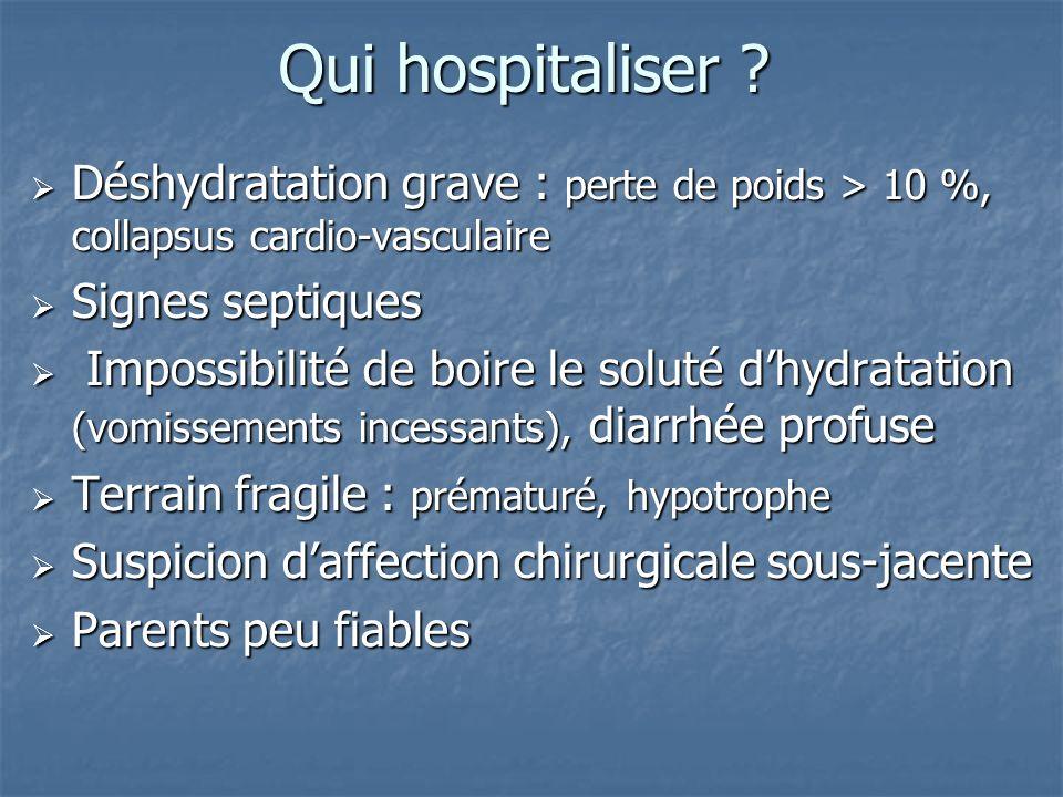 Qui hospitaliser Déshydratation grave : perte de poids > 10 %, collapsus cardio-vasculaire. Signes septiques.