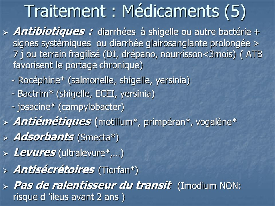 Traitement : Médicaments (5)
