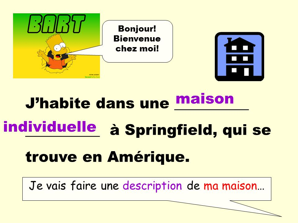Je vais faire une description de ma maison…