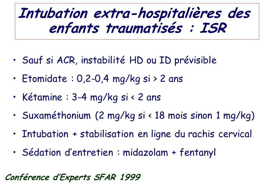 Intubation extra-hospitalières des enfants traumatisés : ISR