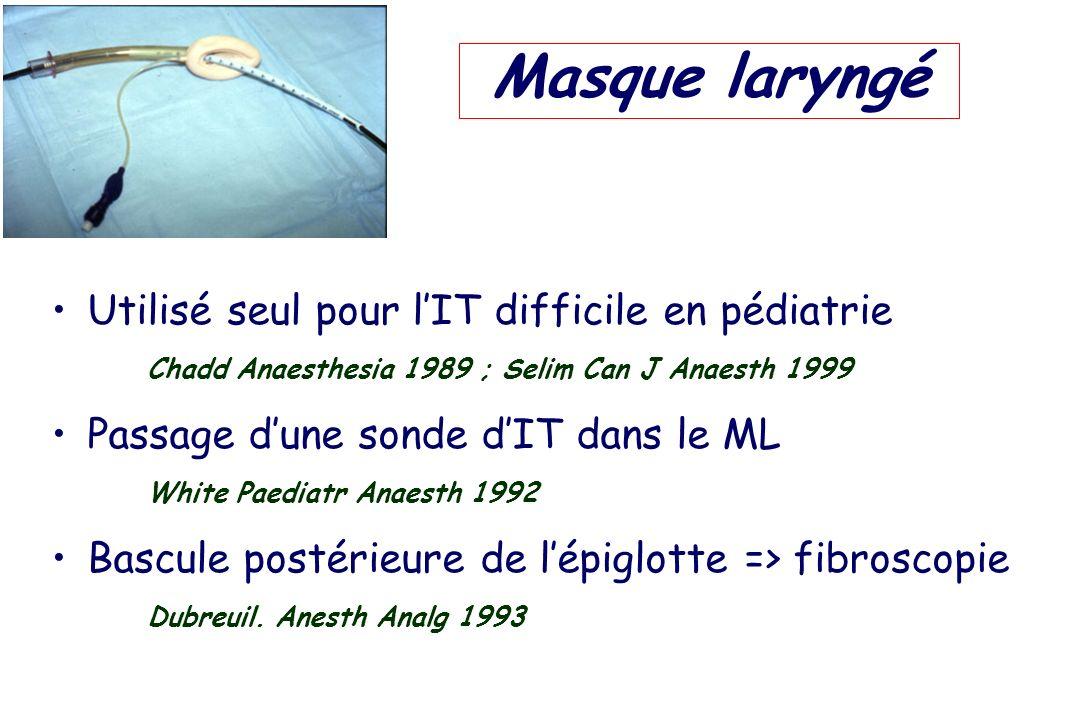 Masque laryngé Utilisé seul pour l'IT difficile en pédiatrie Chadd Anaesthesia 1989 ; Selim Can J Anaesth 1999.