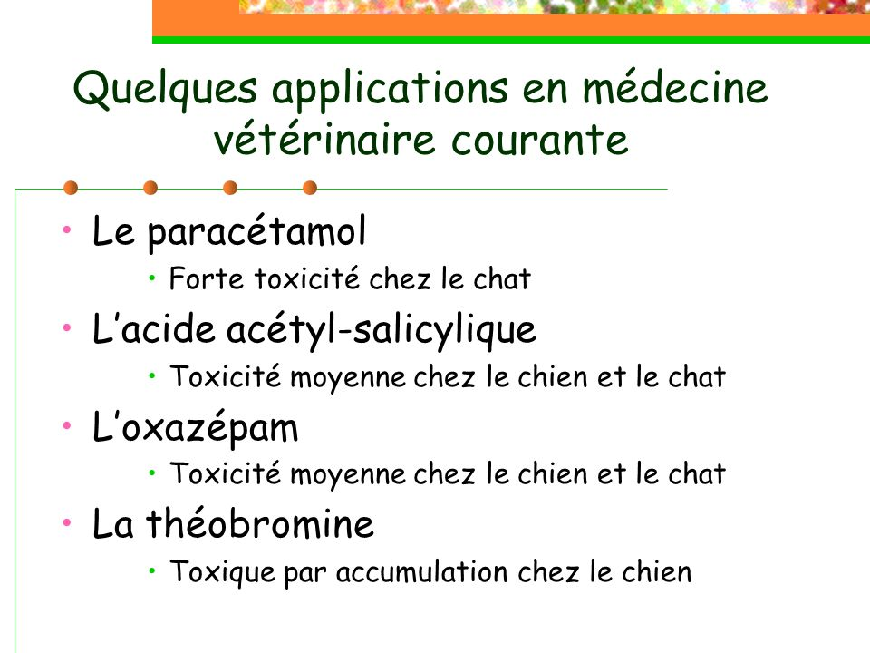 Quelques applications en médecine vétérinaire courante
