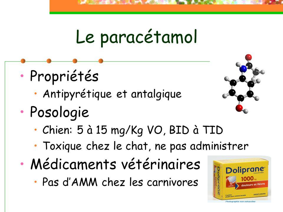 Le paracétamol Propriétés Posologie Médicaments vétérinaires