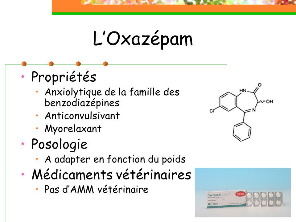 L'Oxazépam Propriétés Posologie Médicaments vétérinaires