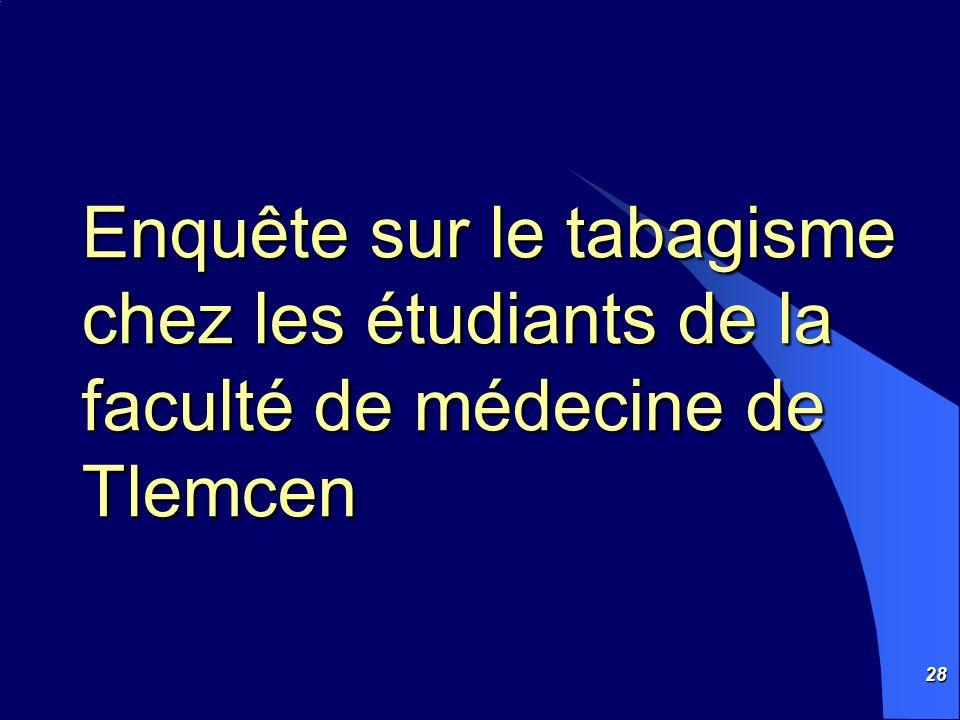 Enquête sur le tabagisme chez les étudiants de la faculté de médecine de Tlemcen