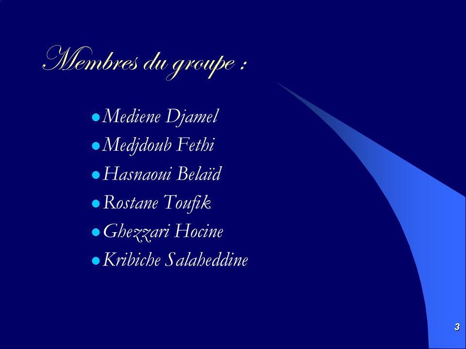 Membres du groupe : Mediene Djamel Medjdoub Fethi Hasnaoui Belaïd