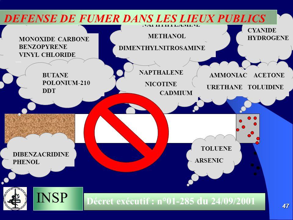 DEFENSE DE FUMER DANS LES LIEUX PUBLICS