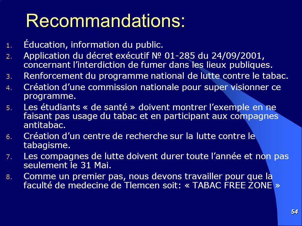 Recommandations: Éducation, information du public.